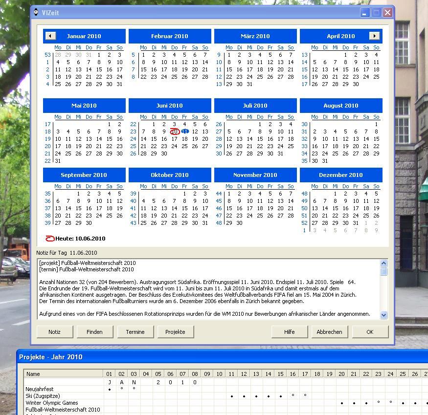 Das Tagebuch mit Notizen, Projekte & Termine